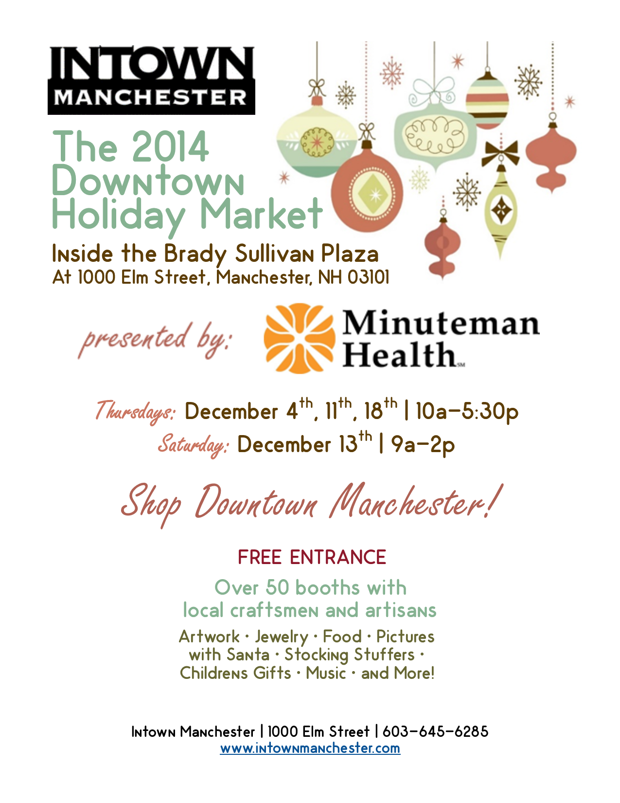 Intown manchester downtown holiday market for Craft stores manchester nh